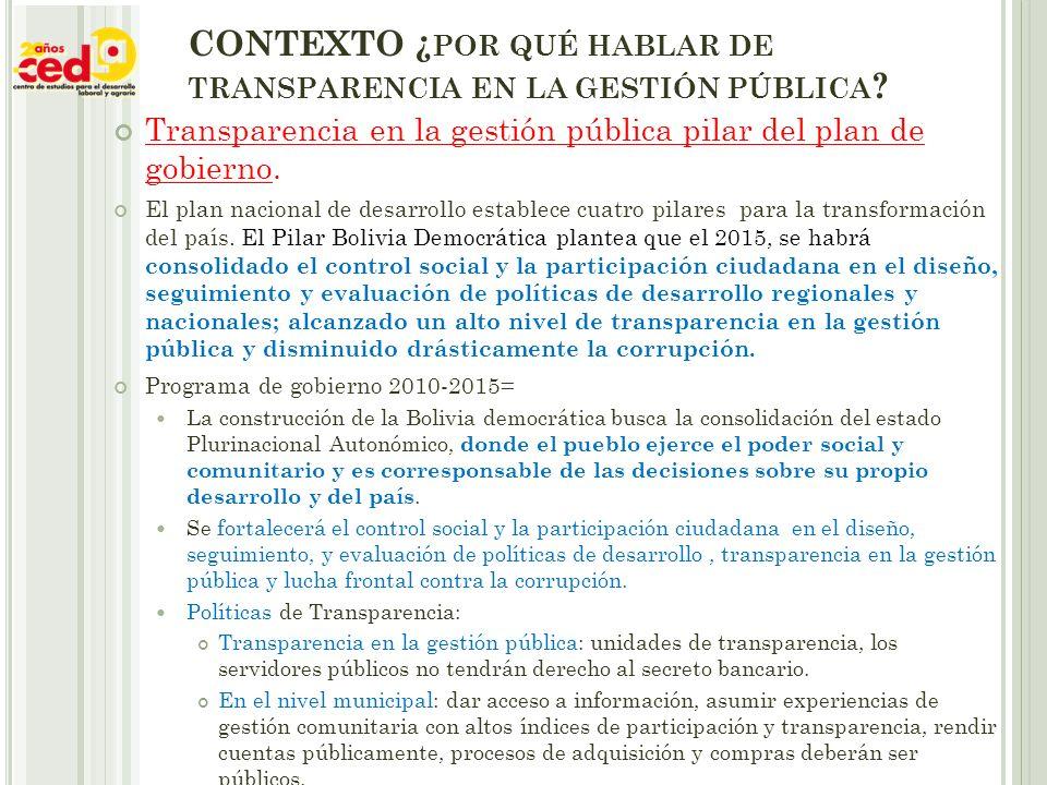 CONTEXTO ¿ POR QUÉ HABLAR DE TRANSPARENCIA EN LA GESTIÓN PÚBLICA .