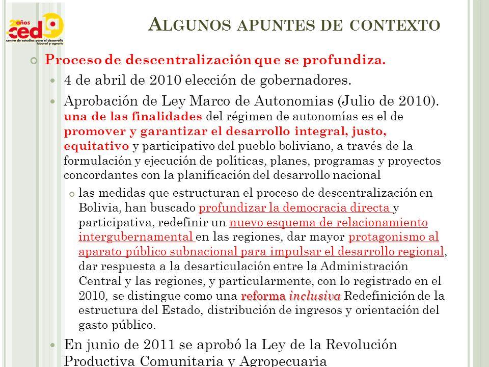 A LGUNOS APUNTES DE CONTEXTO Proceso de descentralización que se profundiza.