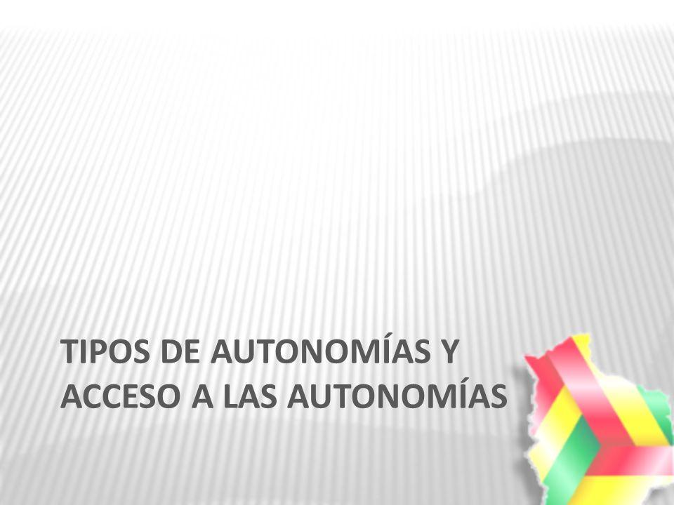 TIPOS DE AUTONOMÍAS Y ACCESO A LAS AUTONOMÍAS