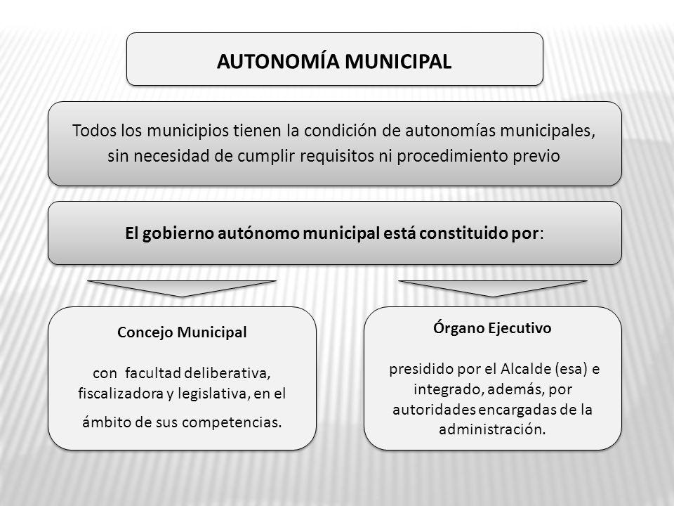 Todos los municipios tienen la condición de autonomías municipales, sin necesidad de cumplir requisitos ni procedimiento previo Todos los municipios t