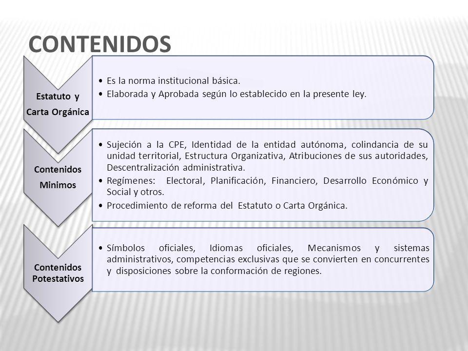 CONTENIDOS Estatuto y Carta Orgánica Es la norma institucional básica. Elaborada y Aprobada según lo establecido en la presente ley. Contenidos Minimo