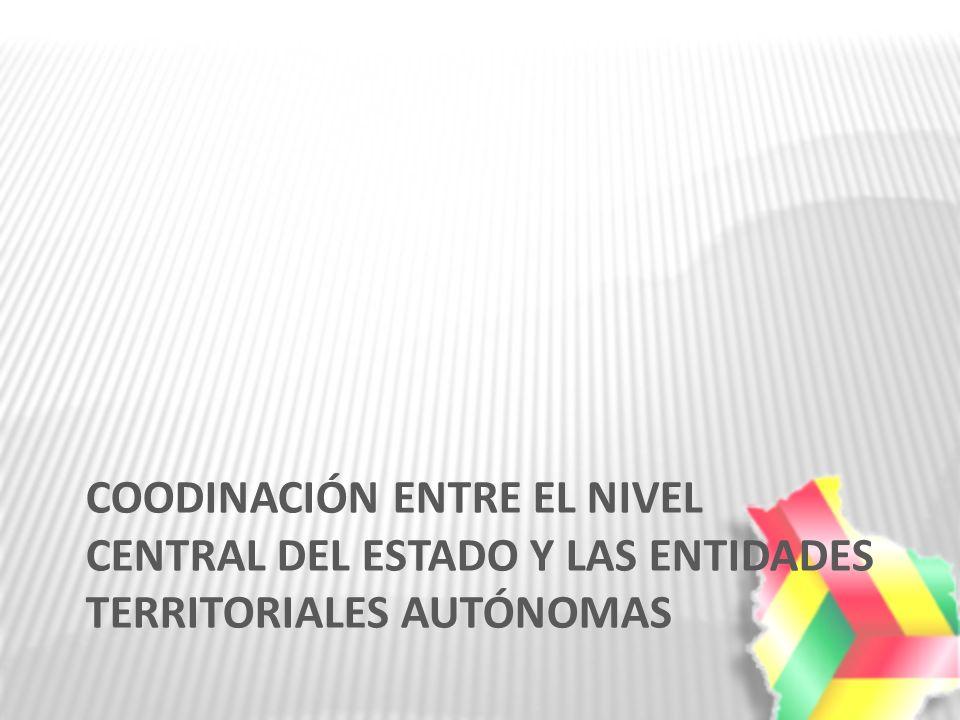 COODINACIÓN ENTRE EL NIVEL CENTRAL DEL ESTADO Y LAS ENTIDADES TERRITORIALES AUTÓNOMAS