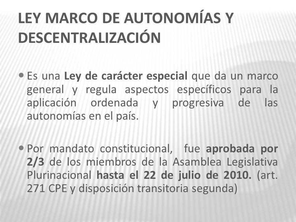LEY MARCO DE AUTONOMÍAS Y DESCENTRALIZACIÓN Es una Ley de carácter especial que da un marco general y regula aspectos específicos para la aplicación o