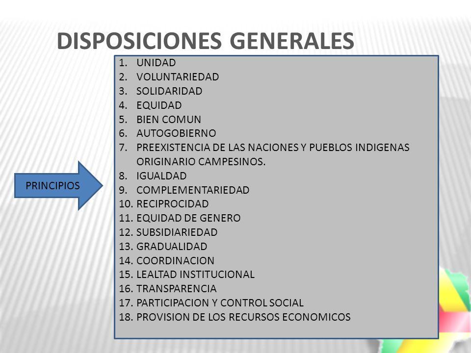 DISPOSICIONES GENERALES 1.UNIDAD 2.VOLUNTARIEDAD 3.SOLIDARIDAD 4.EQUIDAD 5.BIEN COMUN 6.AUTOGOBIERNO 7.PREEXISTENCIA DE LAS NACIONES Y PUEBLOS INDIGEN