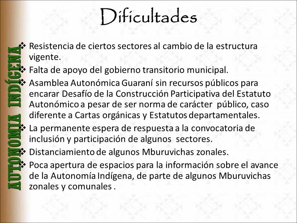 Dificultades Resistencia de ciertos sectores al cambio de la estructura vigente. Falta de apoyo del gobierno transitorio municipal. Asamblea Autonómic