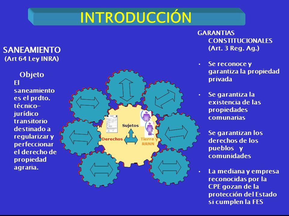 2 INTRODUCCIÓN DerechosTierra y RRNN Sujetos GARANTIAS CONSTITUCIONALES (Art. 3 Reg. Ag.) Se reconoce y garantiza la propiedad privada Se garantiza la