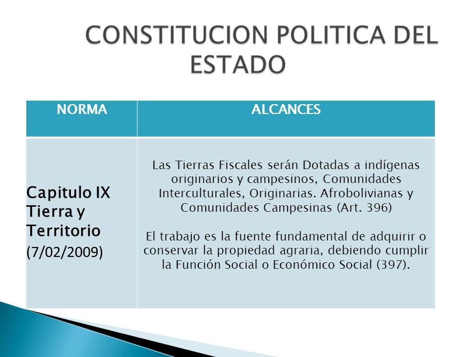 NORMAALCANCES Capitulo IX Tierra y Territorio (7/02/2009) Las Tierras Fiscales serán Dotadas a indígenas originarios y campesinos, Comunidades Intercu