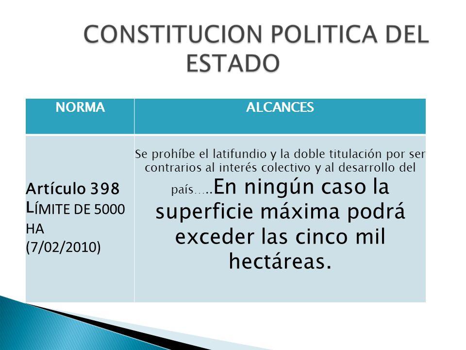 NORMAALCANCES Artículo 398 L ÍMITE DE 5000 HA (7/02/2010) Se prohíbe el latifundio y la doble titulación por ser contrarios al interés colectivo y al