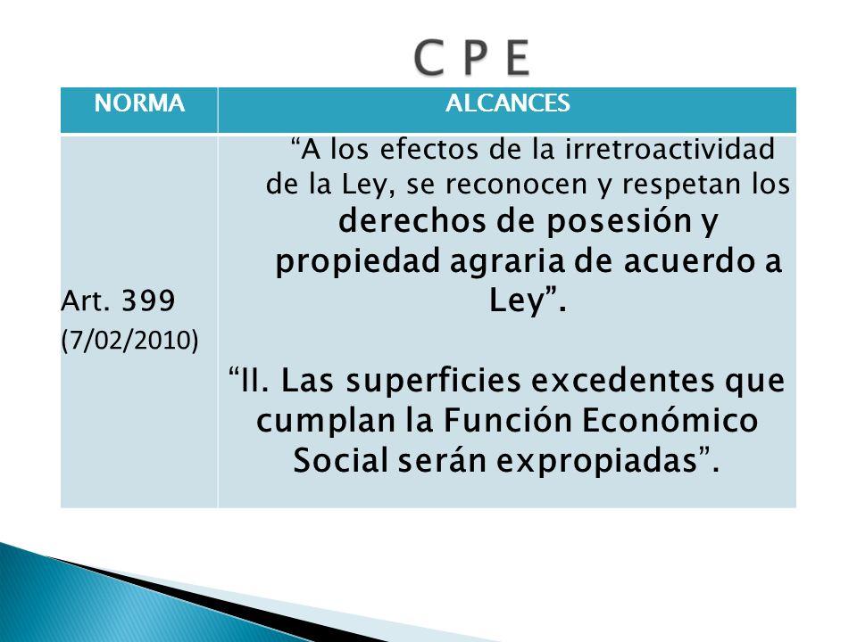 NORMAALCANCES Art. 399 (7/02/2010) A los efectos de la irretroactividad de la Ley, se reconocen y respetan los derechos de posesión y propiedad agrari