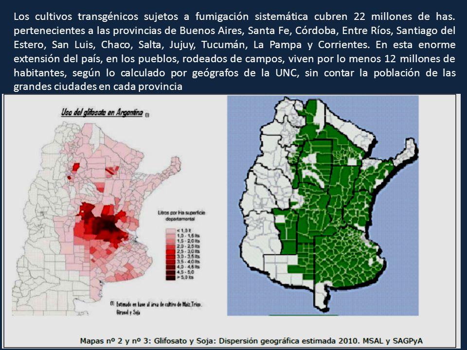 Los cultivos transgénicos sujetos a fumigación sistemática cubren 22 millones de has. pertenecientes a las provincias de Buenos Aires, Santa Fe, Córdo
