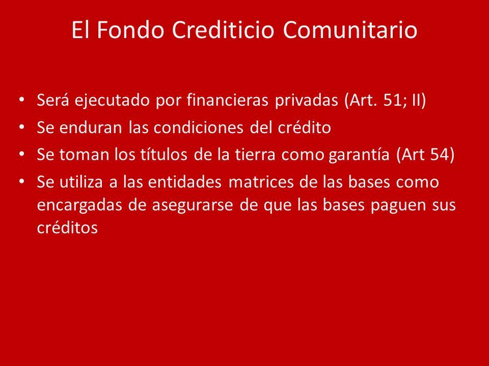El Fondo Crediticio Comunitario Será ejecutado por financieras privadas (Art. 51; II) Se enduran las condiciones del crédito Se toman los títulos de l