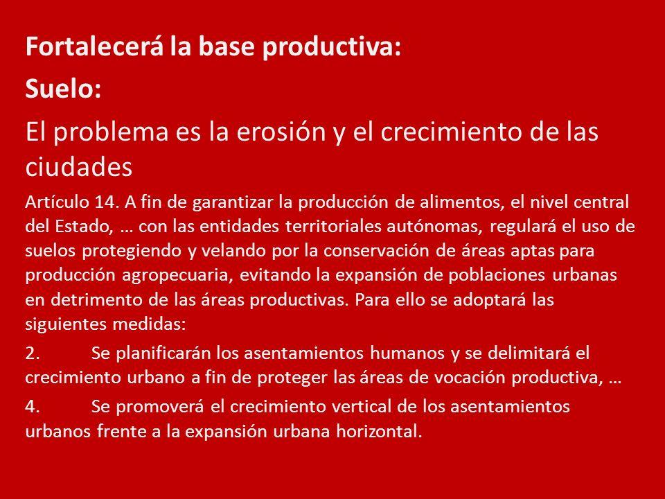 Fortalecerá la base productiva: Suelo: El problema es la erosión y el crecimiento de las ciudades Artículo 14. A fin de garantizar la producción de al