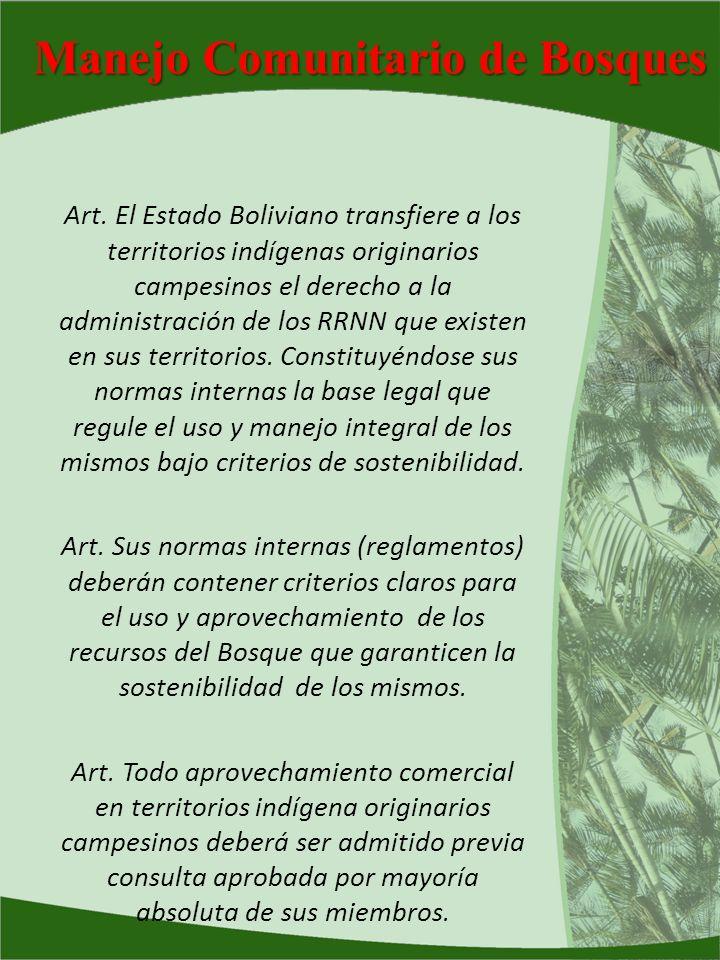 Manejo Comunitario de Bosques Art. El Estado Boliviano transfiere a los territorios indígenas originarios campesinos el derecho a la administración de