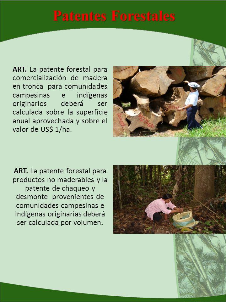 Patentes Forestales ART. La patente forestal para comercialización de madera en tronca para comunidades campesinas e indígenas originarios deberá ser