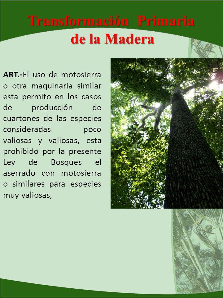 Transformación Primaria de la Madera ART.-El uso de motosierra o otra maquinaria similar esta permito en los casos de producción de cuartones de las e