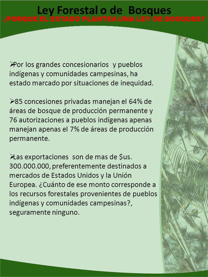 Por los grandes concesionarios y pueblos indígenas y comunidades campesinas, ha estado marcado por situaciones de inequidad. 85 concesiones privadas m