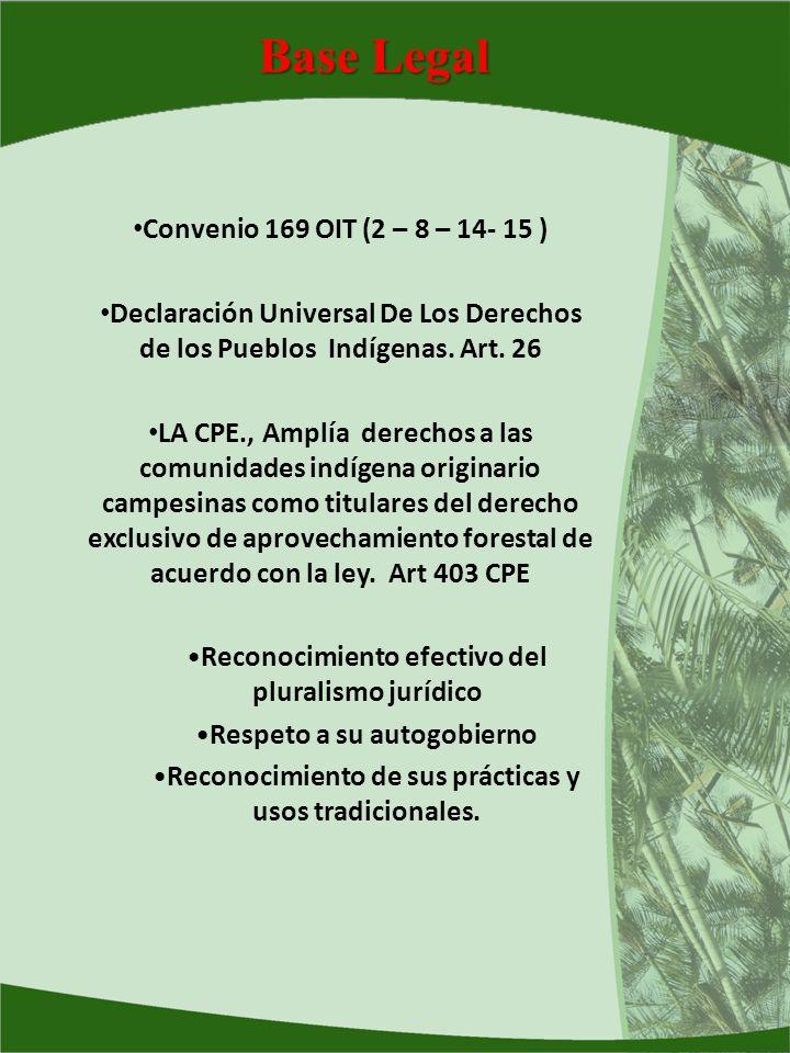 Base Legal Convenio 169 OIT (2 – 8 – 14- 15 ) Declaración Universal De Los Derechos de los Pueblos Indígenas. Art. 26 LA CPE., Amplía derechos a las c