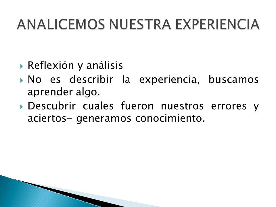 Reflexión y análisis No es describir la experiencia, buscamos aprender algo. Descubrir cuales fueron nuestros errores y aciertos- generamos conocimien