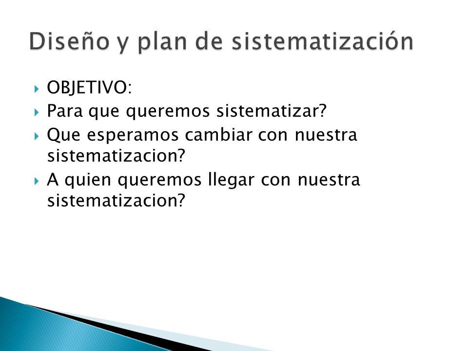 OBJETIVO: Para que queremos sistematizar? Que esperamos cambiar con nuestra sistematizacion? A quien queremos llegar con nuestra sistematizacion?