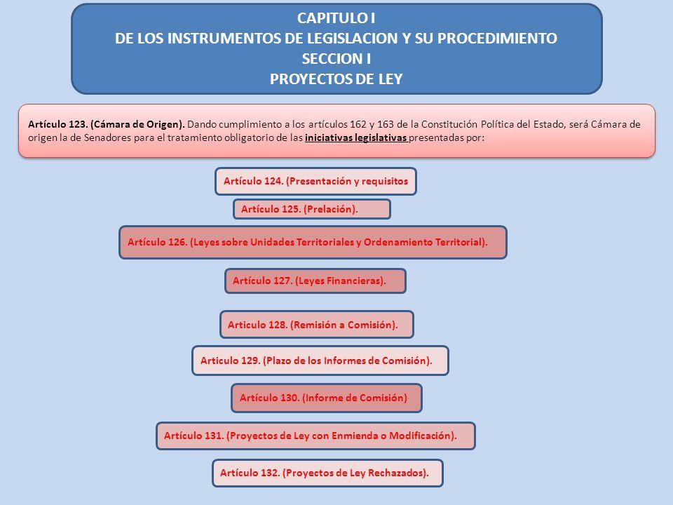 CAPITULO I DE LOS INSTRUMENTOS DE LEGISLACION Y SU PROCEDIMIENTO SECCION I PROYECTOS DE LEY Artículo 123. (Cámara de Origen). Dando cumplimiento a los