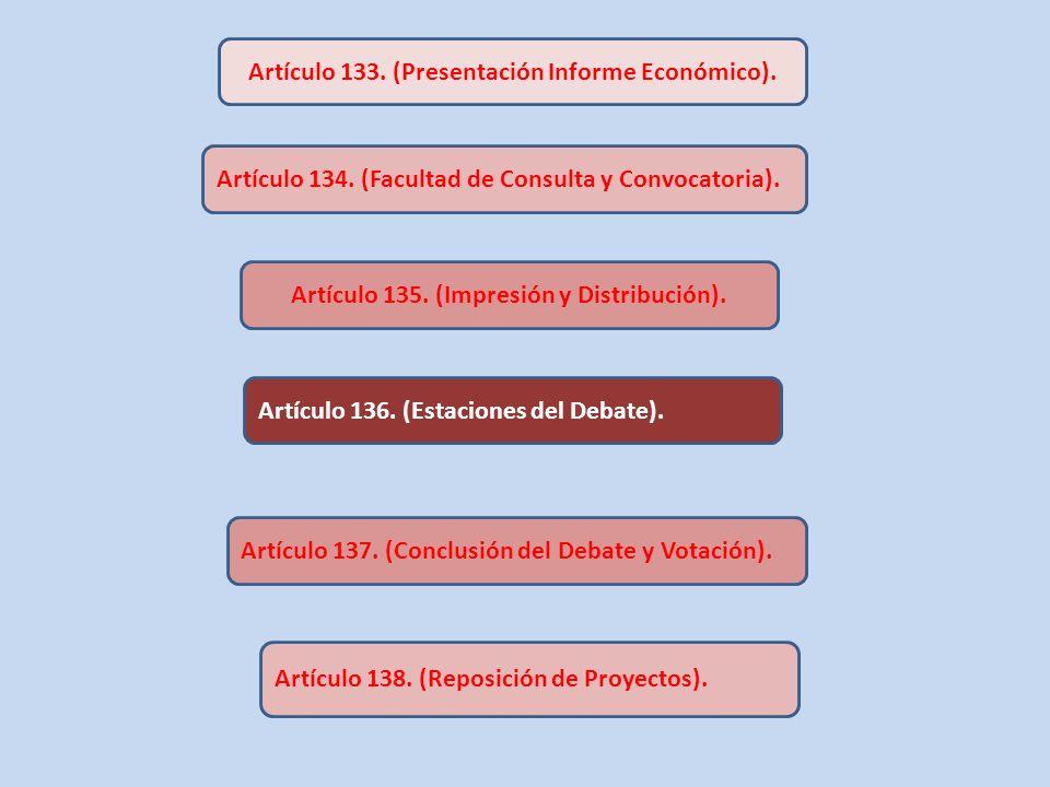Artículo 133. (Presentación Informe Económico). Artículo 134. (Facultad de Consulta y Convocatoria). Artículo 135. (Impresión y Distribución). Artícul