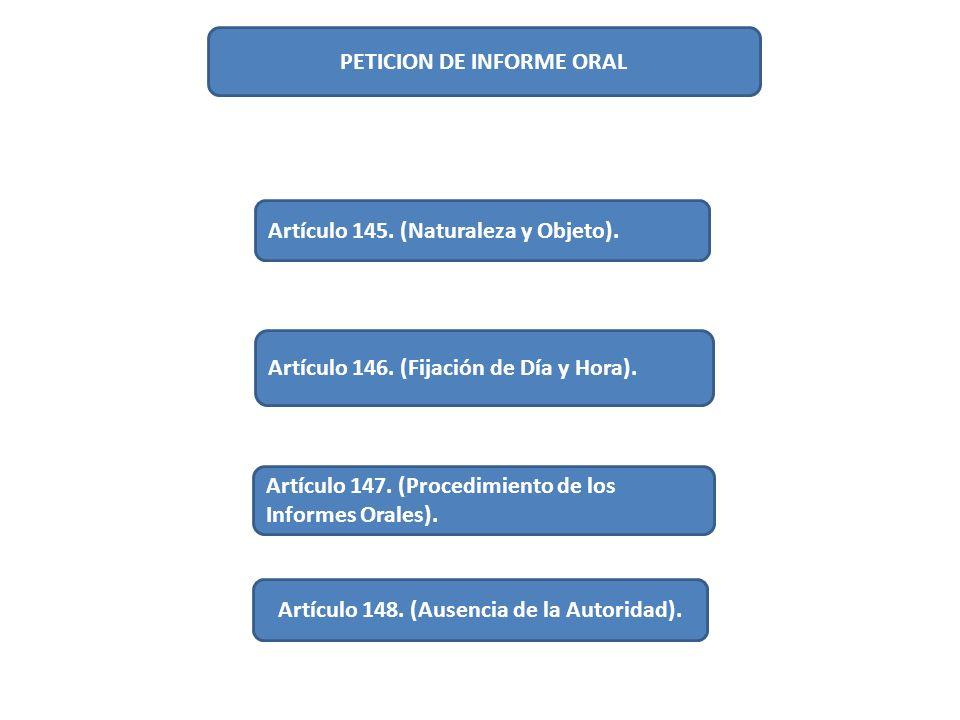 PETICION DE INFORME ORAL Artículo 145. (Naturaleza y Objeto). Artículo 146. (Fijación de Día y Hora). Artículo 147. (Procedimiento de los Informes Ora