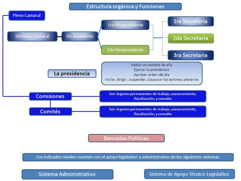 Estructura orgánica y Funciones Pleno Camaral Directiva Camaral Comisiones Comités Bancadas Políticas Los indicados niveles cuentan con el apoyo legis