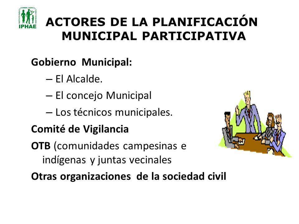 ACTORES DE LA PLANIFICACIÓN MUNICIPAL PARTICIPATIVA Gobierno Municipal: – El Alcalde. – El concejo Municipal – Los técnicos municipales. Comité de Vig