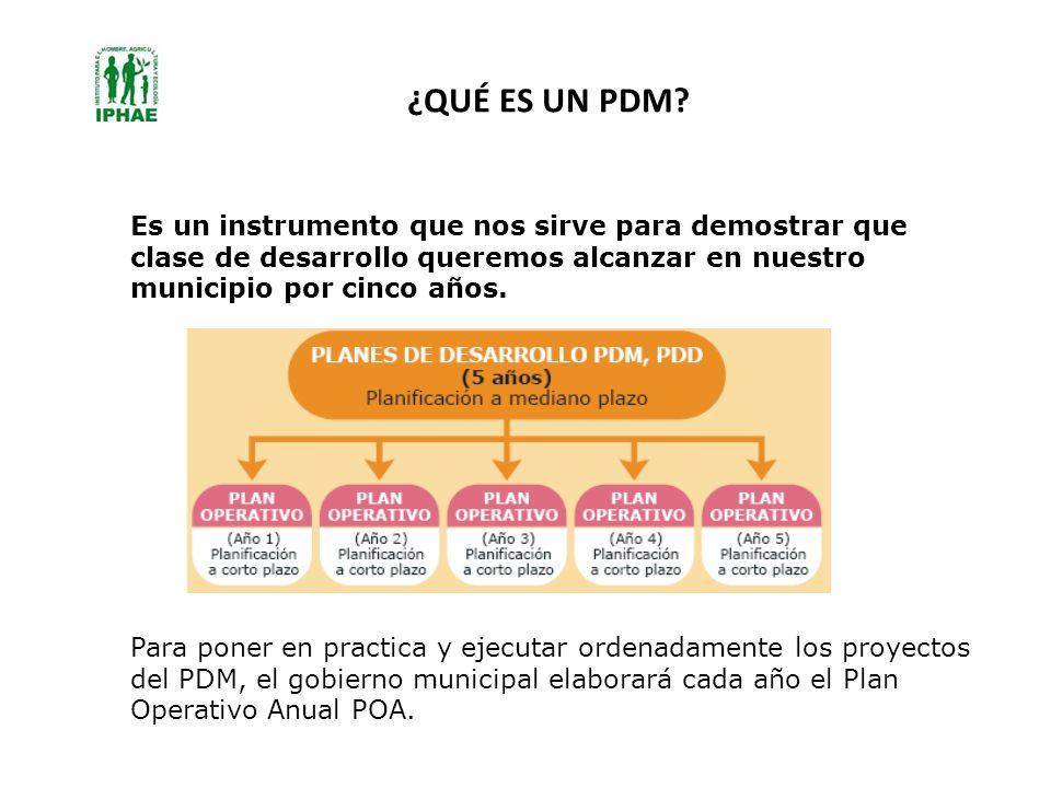 ¿QUÉ ES UN PDM? Es un instrumento que nos sirve para demostrar que clase de desarrollo queremos alcanzar en nuestro municipio por cinco años. Para pon