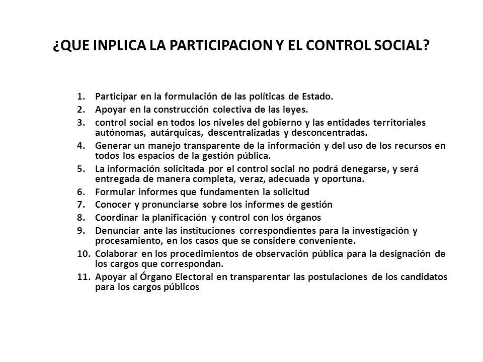 ¿QUE INPLICA LA PARTICIPACION Y EL CONTROL SOCIAL? 1.Participar en la formulación de las políticas de Estado. 2.Apoyar en la construcción colectiva de