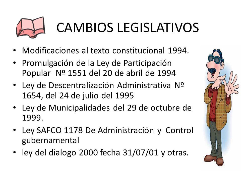 CAMBIOS LEGISLATIVOS Modificaciones al texto constitucional 1994. Promulgación de la Ley de Participación Popular Nº 1551 del 20 de abril de 1994 Ley