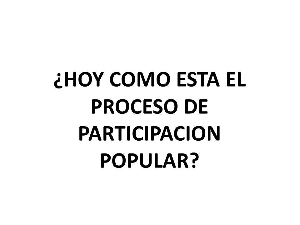 ¿HOY COMO ESTA EL PROCESO DE PARTICIPACION POPULAR?