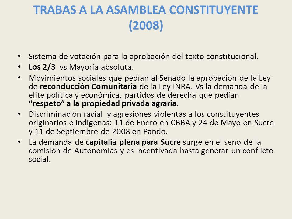 TRABAS A LA ASAMBLEA CONSTITUYENTE (2008) Sistema de votación para la aprobación del texto constitucional. Los 2/3 vs Mayoría absoluta. Movimientos so