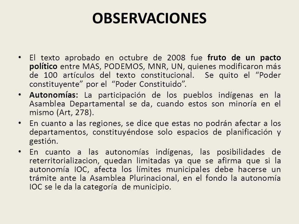 OBSERVACIONES El texto aprobado en octubre de 2008 fue fruto de un pacto político entre MAS, PODEMOS, MNR, UN, quienes modificaron más de 100 artículo