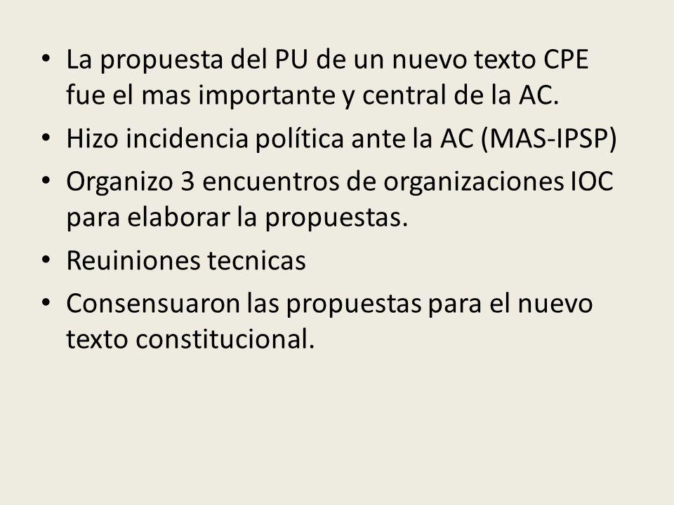 La propuesta del PU de un nuevo texto CPE fue el mas importante y central de la AC. Hizo incidencia política ante la AC (MAS-IPSP) Organizo 3 encuentr