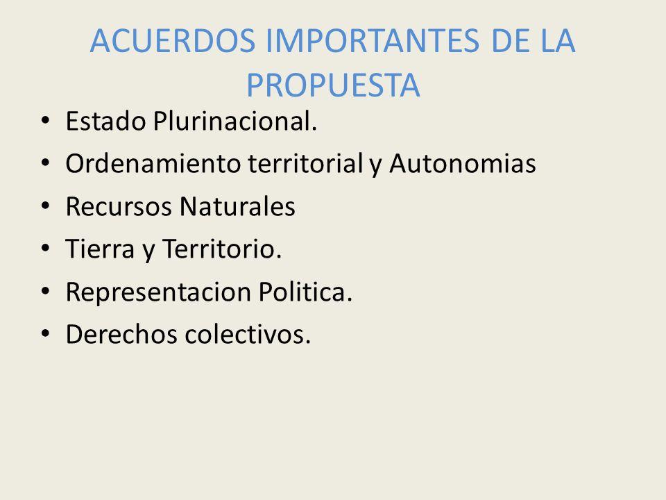 ACUERDOS IMPORTANTES DE LA PROPUESTA Estado Plurinacional. Ordenamiento territorial y Autonomias Recursos Naturales Tierra y Territorio. Representacio