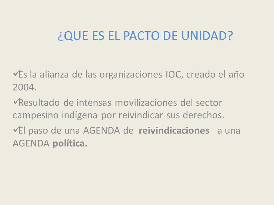 ¿QUE ES EL PACTO DE UNIDAD? Es la alianza de las organizaciones IOC, creado el año 2004. Resultado de intensas movilizaciones del sector campesino ind