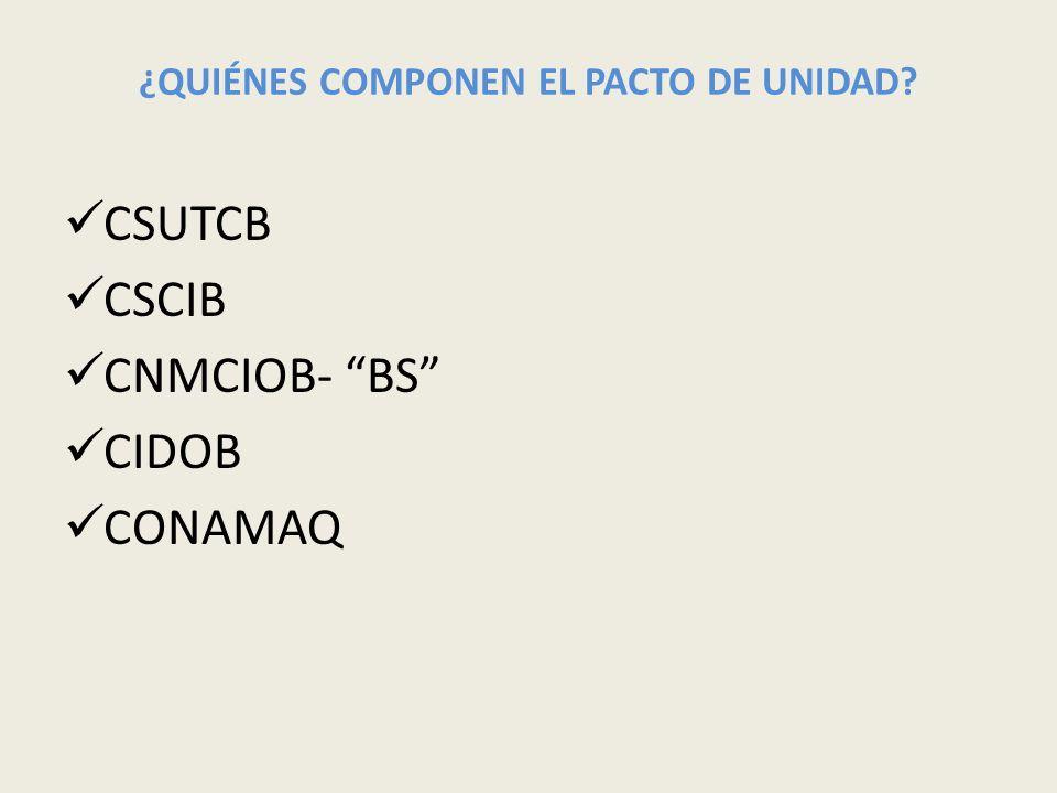 ¿QUIÉNES COMPONEN EL PACTO DE UNIDAD? CSUTCB CSCIB CNMCIOB- BS CIDOB CONAMAQ