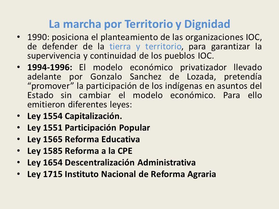 La marcha por Territorio y Dignidad 1990: posiciona el planteamiento de las organizaciones IOC, de defender de la tierra y territorio, para garantizar