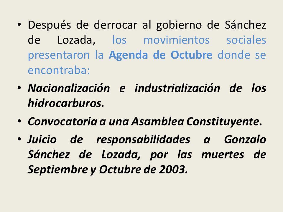 Después de derrocar al gobierno de Sánchez de Lozada, los movimientos sociales presentaron la Agenda de Octubre donde se encontraba: Nacionalización e