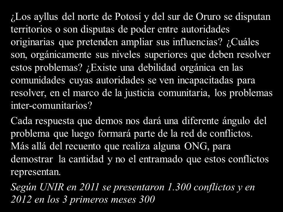 ¿Los ayllus del norte de Potosí y del sur de Oruro se disputan territorios o son disputas de poder entre autoridades originarias que pretenden ampliar