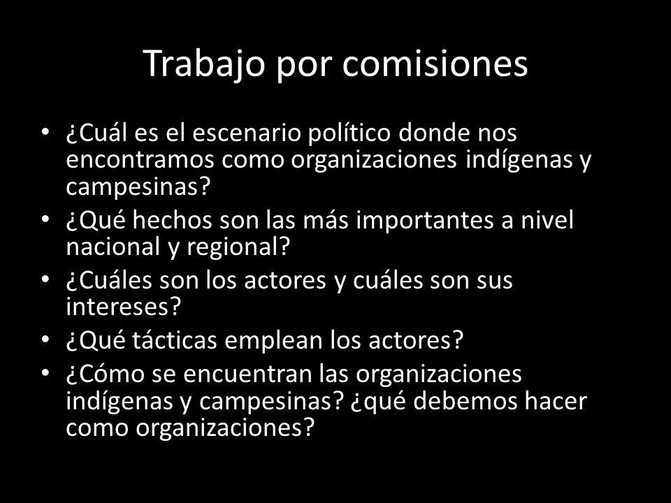 Trabajo por comisiones ¿Cuál es el escenario político donde nos encontramos como organizaciones indígenas y campesinas? ¿Qué hechos son las más import