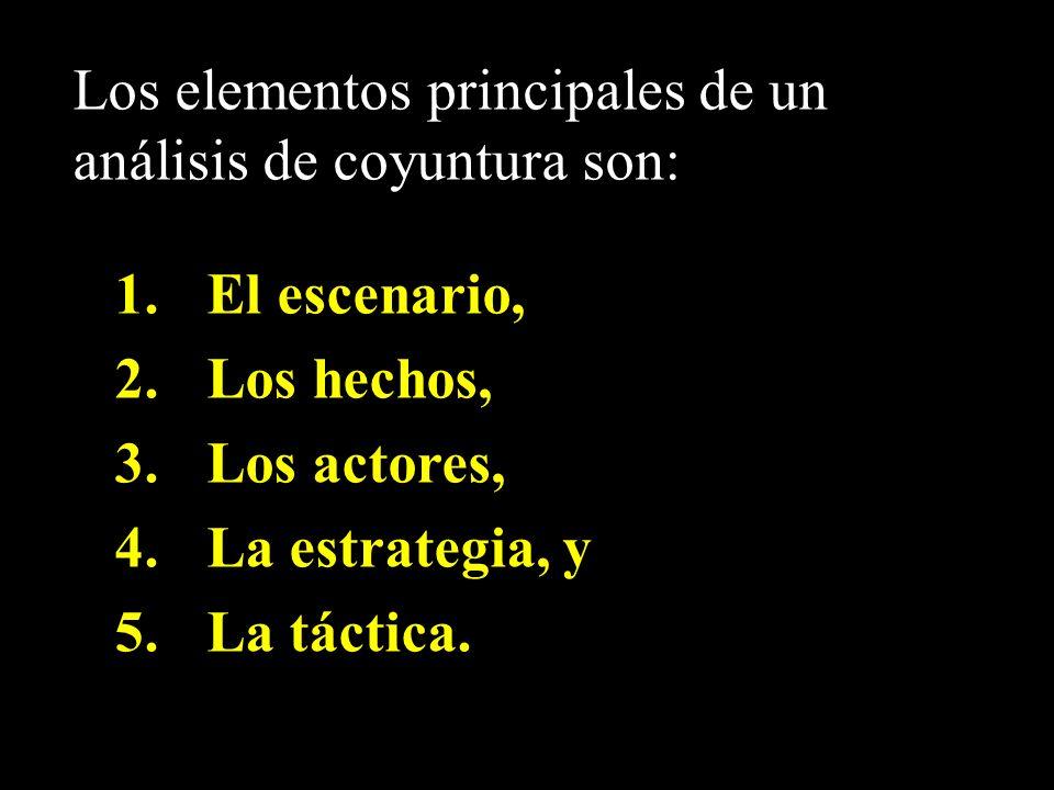 Los elementos principales de un análisis de coyuntura son: 1.El escenario, 2.Los hechos, 3.Los actores, 4.La estrategia, y 5.La táctica.