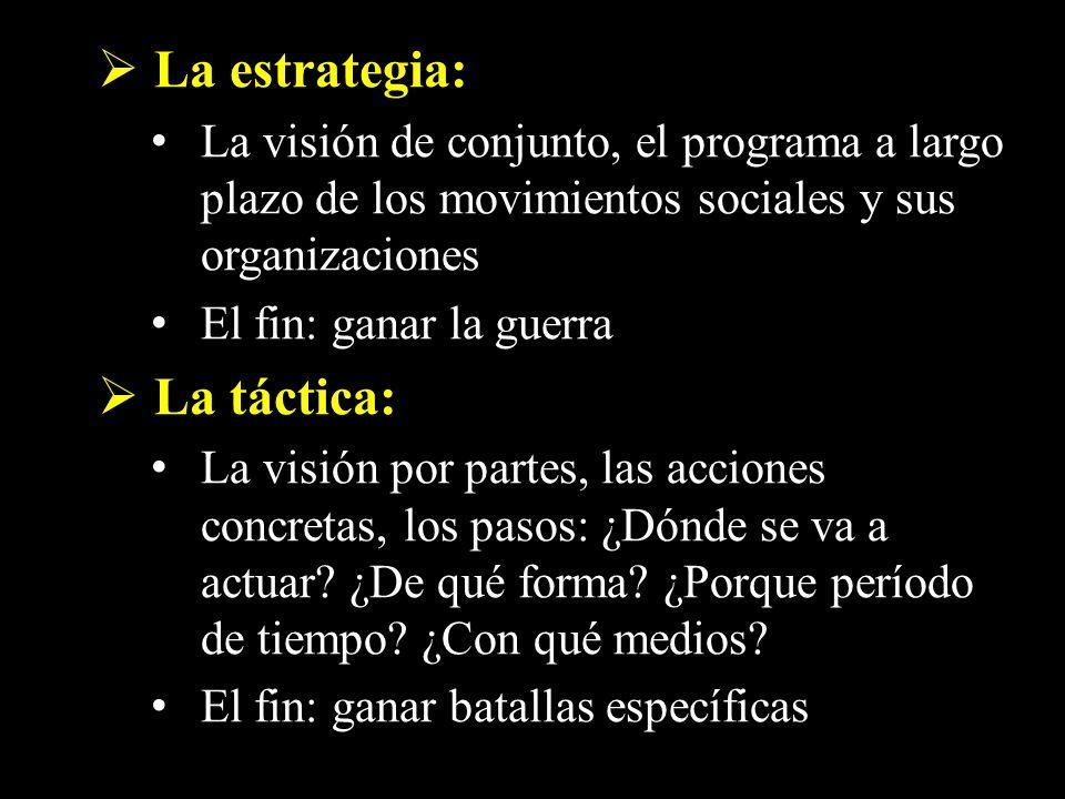 La estrategia: La visión de conjunto, el programa a largo plazo de los movimientos sociales y sus organizaciones El fin: ganar la guerra La táctica: L
