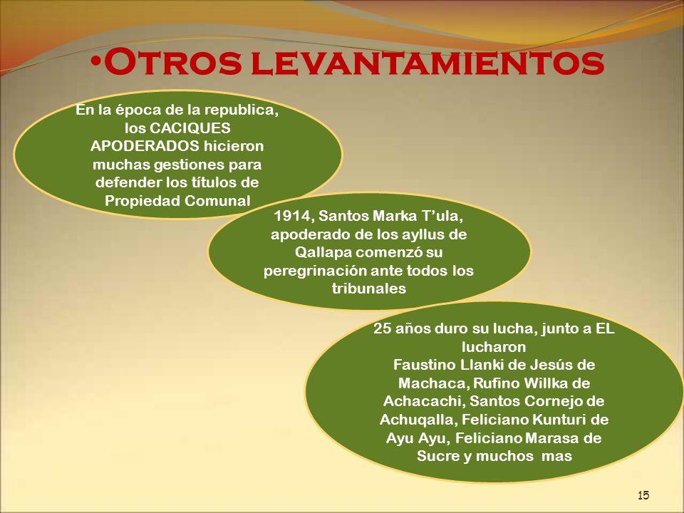 Otros levantamientos En la época de la republica, los CACIQUES APODERADOS hicieron muchas gestiones para defender los títulos de Propiedad Comunal 191