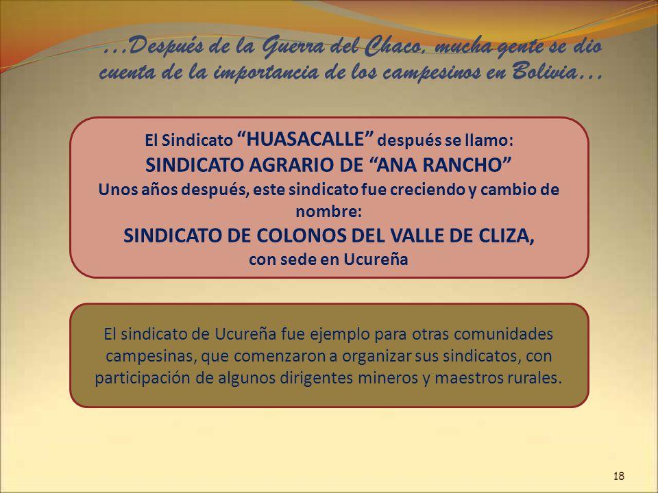 …Después de la Guerra del Chaco, mucha gente se dio cuenta de la importancia de los campesinos en Bolivia… El Sindicato HUASACALLE después se llamo: S