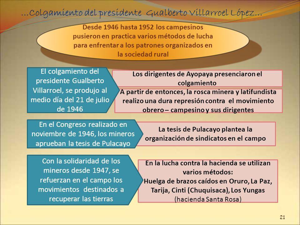 En la lucha contra la hacienda se utilizan varios métodos: Huelga de brazos caídos en Oruro, La Paz, Tarija, Cinti (Chuquisaca), Los Yungas (hacienda