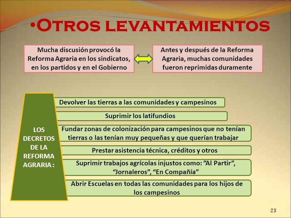 Mucha discusión provocó la Reforma Agraria en los sindicatos, en los partidos y en el Gobierno Otros levantamientos Devolver las tierras a las comunid
