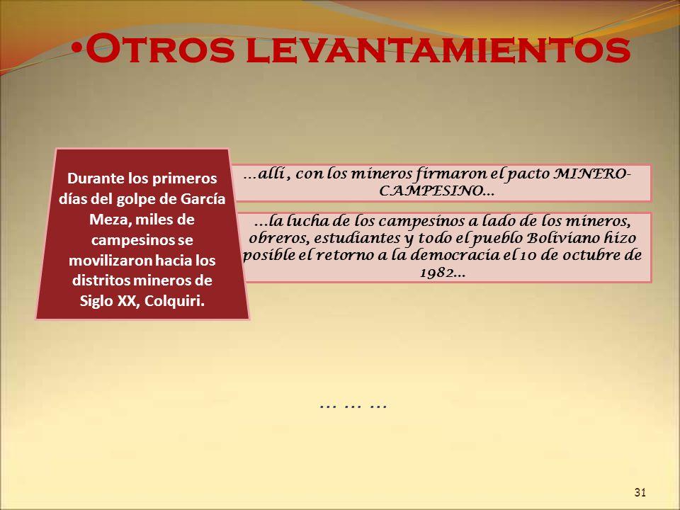 ...la lucha de los campesinos a lado de los mineros, obreros, estudiantes y todo el pueblo Boliviano hizo posible el retorno a la democracia el 10 de
