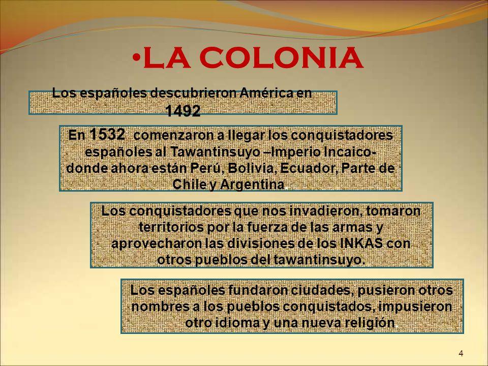 LA COLONIA Los españoles descubrieron América en 1492 En 1532 comenzaron a llegar los conquistadores españoles al Tawantinsuyo –Imperio Incaico- donde